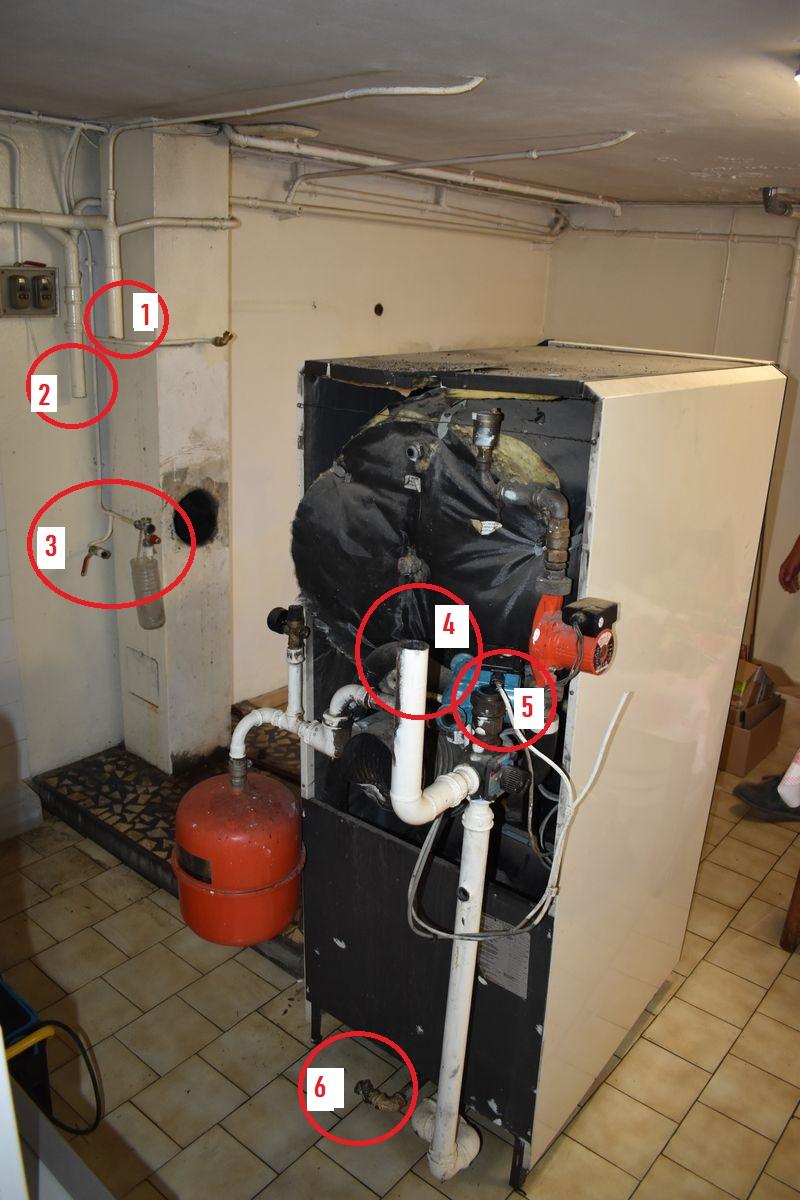 chaudiere fioul de dos repiquage retour depart installation pompe à chaleur
